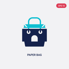 two color paper bag vector icon from fast food concept. isolated blue paper bag vector sign symbol can be use for web, mobile and logo. eps 10