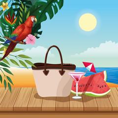 Summer vacations and beach cartoons