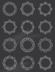 Chalkboard Mandala Circle Frame set