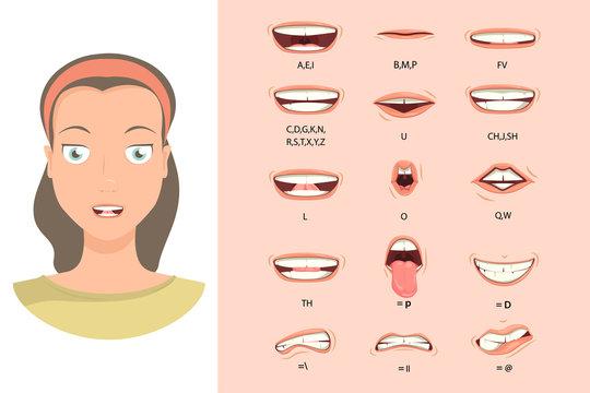 Female lip sync. Lip sync collection for animation. Female mouth animation. Phoneme mouth chart. Alphabet pronunciation. Vector illustration.