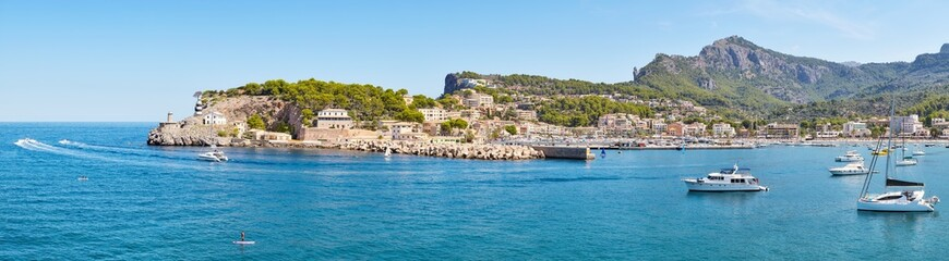 Wall Mural - High resolution panorama of Port de Soller, picturesque little village located at the foot of the Serra de Tramuntana, Majorca, Spain.