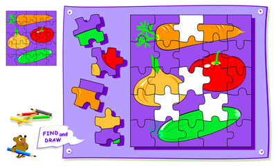 Logic puzzle game for kids. Need to find the place for each detail and paint vegetables. Worksheet for school textbook. Back to school. Development of children spatial thinking skills.