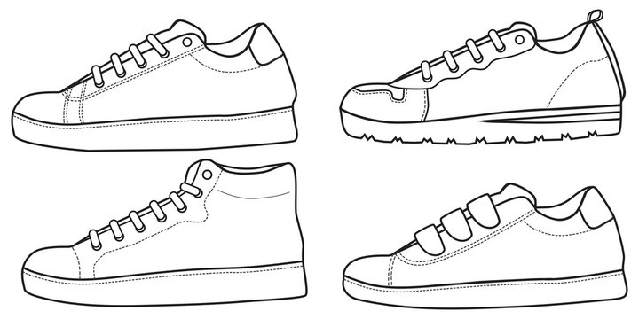 Shoes sneaker outline drawing vector symbol icon, shoe fill in the blank set collection, black line sneaker trainers template outline