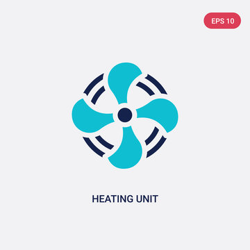 two color heating unit vector icon from furniture and household concept. isolated blue heating unit vector sign symbol can be use for web, mobile and logo. eps 10