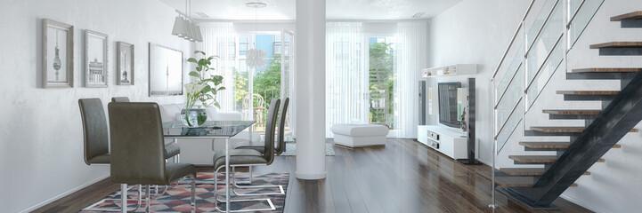 3d Illustation - Modernes Loft mit großen Fenster - Helles Wohnzimmer mit einem Esstisch und einer großen Couch - Panorama