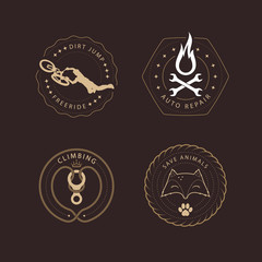 Different logos templates vector design elements and silhouettes. Vintage style emblems and badges retro illustration.