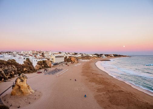 Paneco Beach at dusk, elevated view, Albufeira, Algarve, Portugal