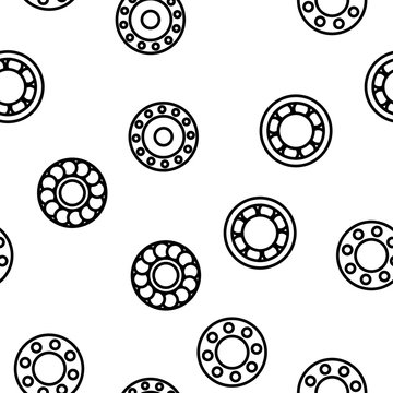 Ball Bearing Mechanism Vector Color Icons Seamless Pattern. Rolling Ball Bearing Linear Symbols Pack. Wheels, Gears, Machinery Equipment. Engineering, Machine Element Illustrations