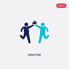 two color high five vector icon from humans concept. isolated blue high five vector sign symbol can be use for web, mobile and logo. eps 10