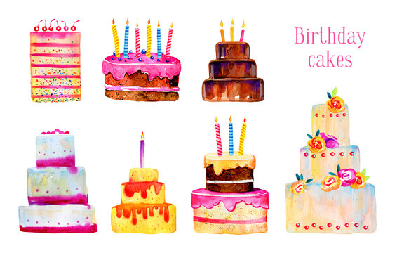 Birthday cakes with candles and decorations. Hand drawn stylized cartoon watercolor sketch illustration set