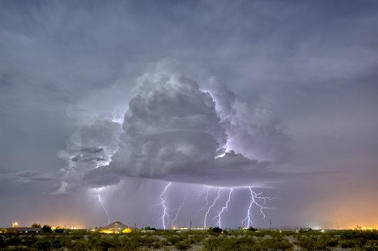 An isolated storm cell illuminated by moonlight during the 2015 Monsoon season, Arizona