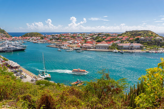 Elevated view of the harbour, Gustavia, St. Barthelemy (St. Barts) (St. Barth)