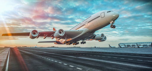 Airplane taking off from the airport. Wall mural