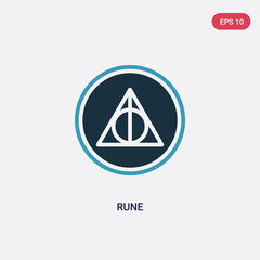 two color rune vector icon from miscellaneous concept. isolated blue rune vector sign symbol can be use for web, mobile and logo. eps 10