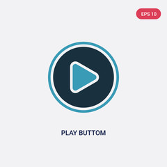 two color play buttom vector icon from multimedia concept. isolated blue play buttom vector sign symbol can be use for web, mobile and logo. eps 10