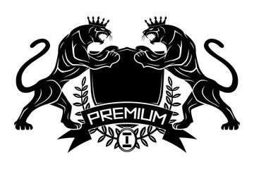Premium sign with panthers in crowns and shield on a white background.