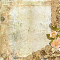 Grunge card on shabby background with roses