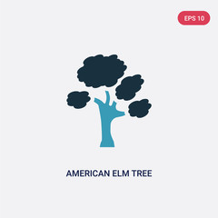 two color american elm tree vector icon from nature concept. isolated blue american elm tree vector sign symbol can be use for web, mobile and logo. eps 10