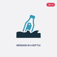 two color message in a bottle vector icon from nautical concept. isolated blue message in a bottle vector sign symbol can be use for web, mobile and logo. eps 10