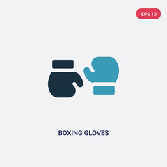 two color boxing gloves vector icon from people skills concept. isolated blue boxing gloves vector sign symbol can be use for web, mobile and logo. eps 10