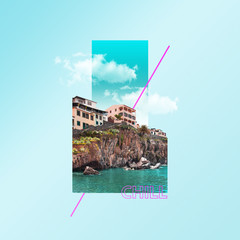 Obraz Chill. Hotel's sight with the sea and clouds on blue background. Concept of interaction of city sights or showplaces with the nature objects. Modern design. Contemporary and creative art collage. - fototapety do salonu