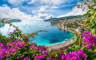 Poster Coast Aerial view of French Riviera coast with medieval town Villefranche sur Mer, Nice region, France