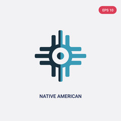 two color native american sun vector icon from religion concept. isolated blue native american sun vector sign symbol can be use for web, mobile and logo. eps 10