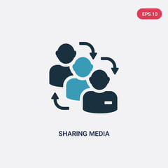 two color sharing media vector icon from shapes concept. isolated blue sharing media vector sign symbol can be use for web, mobile and logo. eps 10
