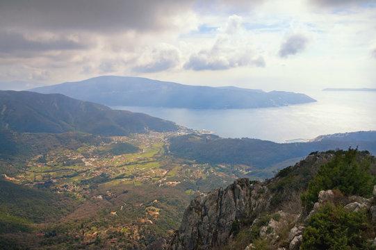 Beautiful Mediterranean landscape. Montenegro. View of  Bay of Kotor and Lustica Peninsula near Herceg Novi city