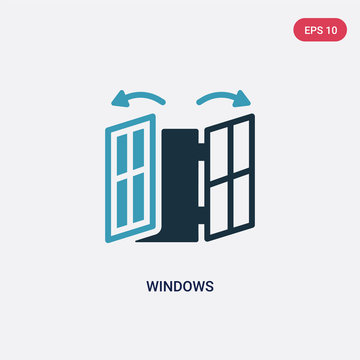 two color windows vector icon from smart home concept. isolated blue windows vector sign symbol can be use for web, mobile and logo. eps 10