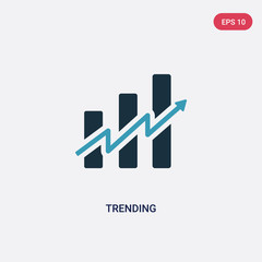 two color trending vector icon from social media marketing concept. isolated blue trending vector sign symbol can be use for web, mobile and logo. eps 10