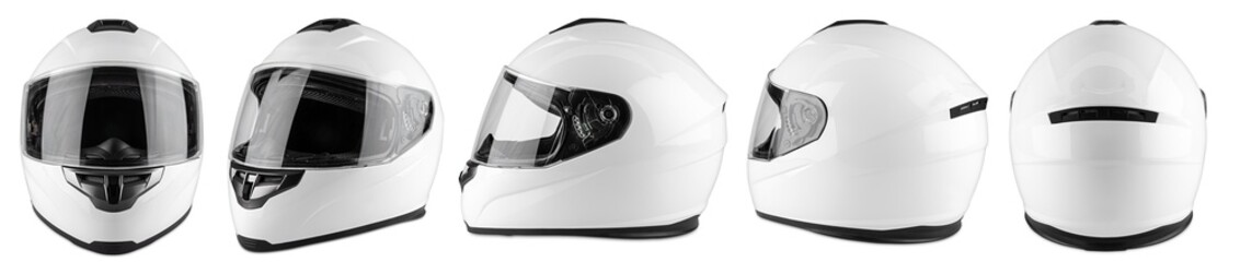 Set collection of white motorcycle carbon integral crash helmet isolated white background. motorsport car kart racing transportation safety concept
