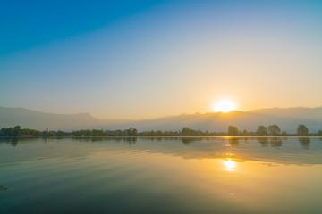 Sunrise on Dal lake, Kashmir India .