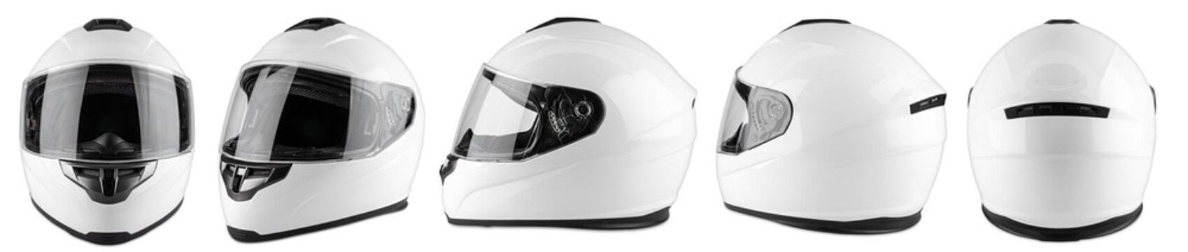 Set collection of white motorcycle carbon integral crash helmet isolated white background. motorsport car kart racing transportation safety concept