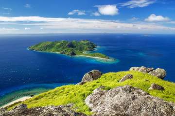 View of Kuata Island from Vatuvula Volcano on Wayaseva Island, Yasawas, Fiji