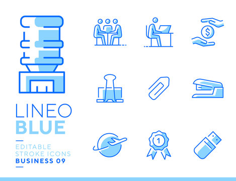Lineo Blue - Office and Business line icons