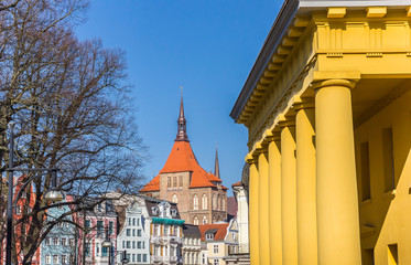 Fototapete - Colorful cityscape of historic buildings in Rostock, Germany
