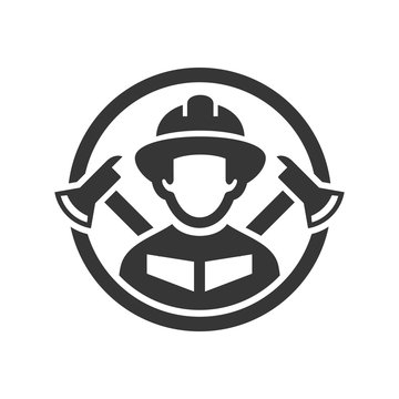 Firefighter Logo Icon on White Background. Vector