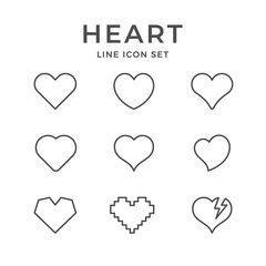 Set line icons of heart and love concept