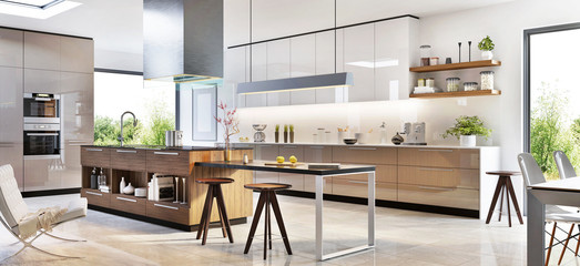Modern kitchen interior design in a luxury house Wall mural