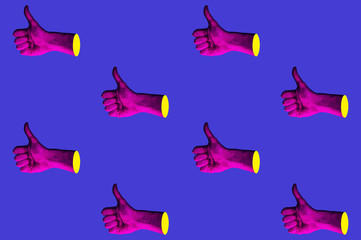 Contemporary minimalistic art collage in neon bold colors with hands showing thumbs up. Like sign surrealism creative wallpaper. Psychedelic design pattern. Template with space for text.