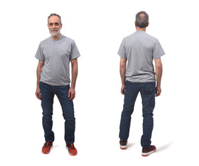 Front and back of a man on white