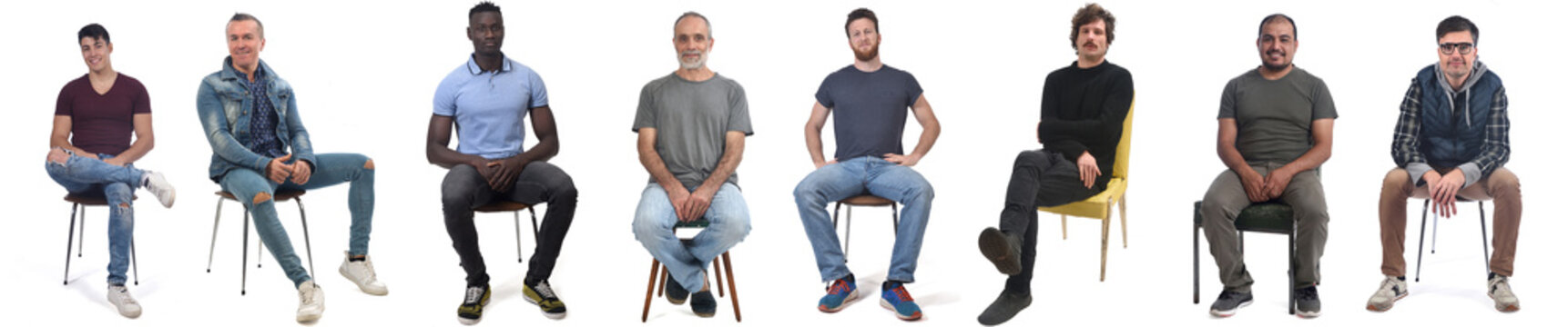 group of mixed man sitting on chair on white background