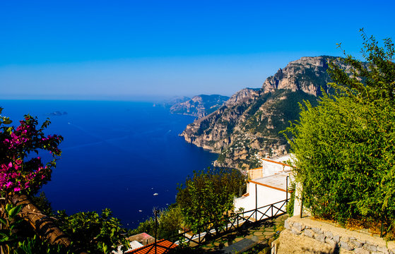 View of Positano from Nocelle college in Amalfi Coast, Italy