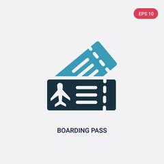 two color boarding pass vector icon from travel concept. isolated blue boarding pass vector sign symbol can be use for web, mobile and logo. eps 10