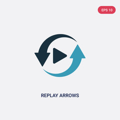 two color replay arrows vector icon from user interface concept. isolated blue replay arrows vector sign symbol can be use for web, mobile and logo. eps 10
