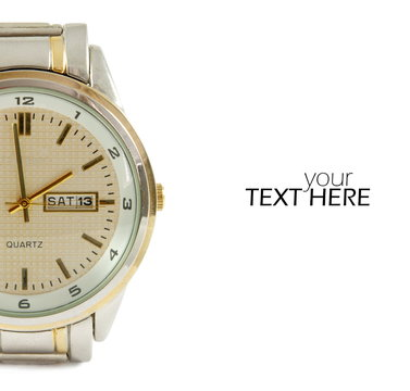 Elegant wrist watch with the copy space