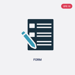 two color form vector icon from user interface concept. isolated blue form vector sign symbol can be use for web, mobile and logo. eps 10