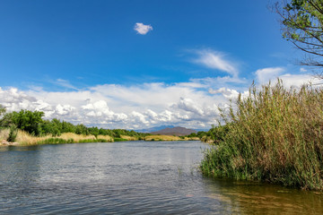 Beautiful Arizona landscape with a river, desert scenery and mountains in the distance. Puffy white clouds over purple mountains