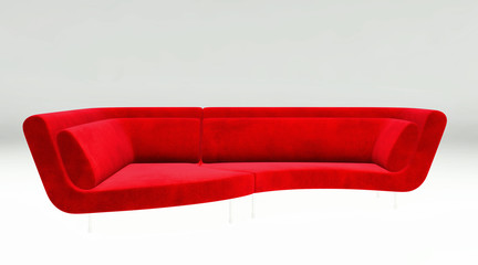 Sofa isolated on white background 3d rendering illustration